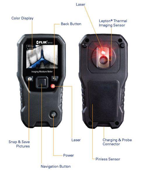 """FLIR MR160: Misuratore di umidità e termocamera """" Due in Uno"""""""