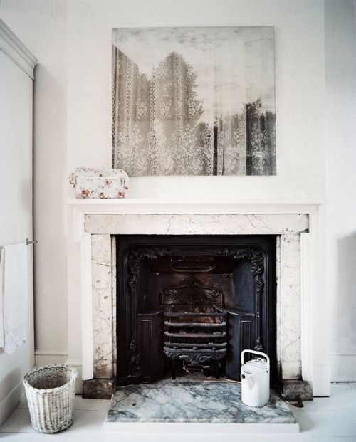 #fireplace #white #interior design, faded cityscape art, marble fireplace surroundMantels, White Design, Lace Curtains, Colors Art, Interiors Design, Fireplaces Surroundings, Vintage Interiors, White Interiors, English Home