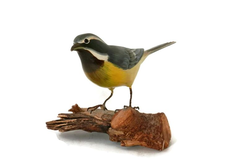 Hand Carved Baltimore Oriole Bird Decoy on Natural Driftwood Base