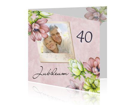 Uitnodiging veertig jaar getrouwd anemoon