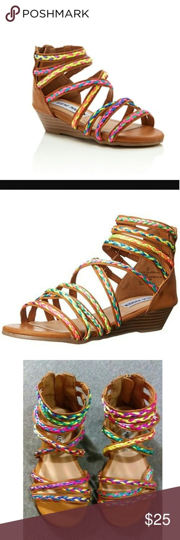 Steve Madden Girls' Tracey Wedge Sandals - Toddler Steve Madden? Kids festival style for your colorful little ones! Above ankle gladiator silhouette. Synthetic upper with multicolored braided details. Rear zipped for a close fit. Synthetic lining with lightly padded footbed. Synthetic wedge and outsole. Imported. Measurements:Heel Height: 1 inWeight: 6 ozPlatform Height: 1?4 in Steve Madden Shoes Dress Shoes