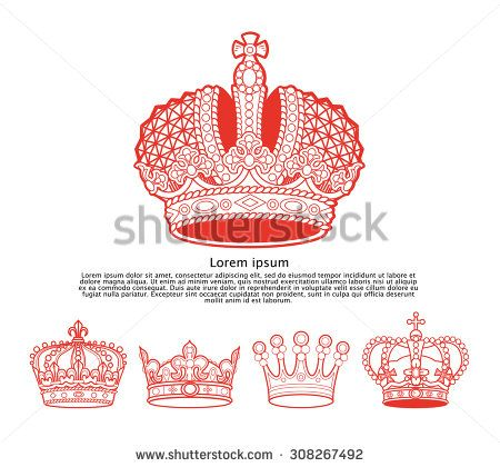 Collection of vintage elegant ancient crowns with text space. Crown set. Aristocracy insignia emblem design.  - stock photo
