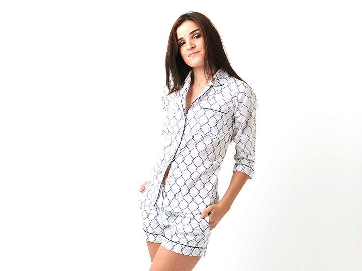 Blue Rope Cotton Pajamas for Ladies
