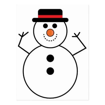 Snowman Cartoon Postcard - merry christmas postcards postal family xmas card holidays diy personalize