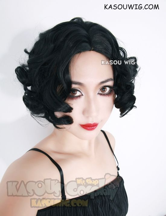 [Kasou Wig] Snow White jet black center-parted curly wig . cute wig ( KA-032)