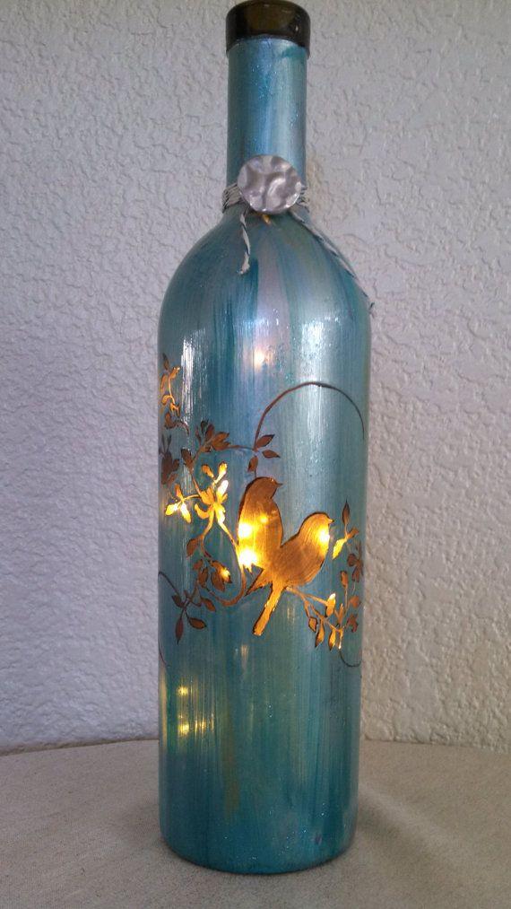 Love Bird Wine Bottle Light by reWINEdbottleart on Etsy