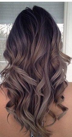 Dark chestnut brown hair with caramel highlights