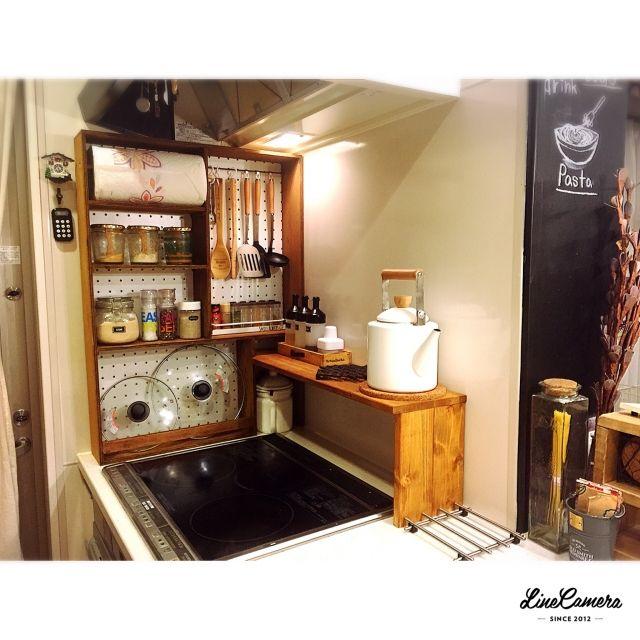 rie1128さんの、DIY,RC九州支部,76組,建売住宅,しゃれとんしゃあ会,調味料ラック,ニトリ,余った木材でDIY,収納棚,Kitchen,のお部屋写真