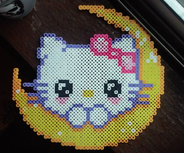 Hello Kitty Moon Perler Beads by ZombieLolitaPrincess