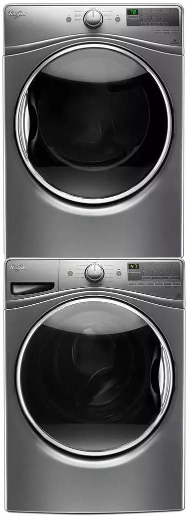 Whirlpool WPWADRGC385 Stacked Washer & Dryer Set with Front Load Washer and Gas Dryer in Chrome Shadow