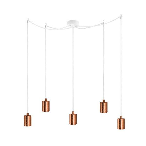 Lampă de tavan cu 5 cabluri Bulb Attack Cero, alb - cupru