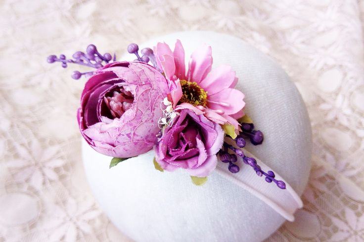 Baby headband - Purple / Pink Floral Cluster Headband