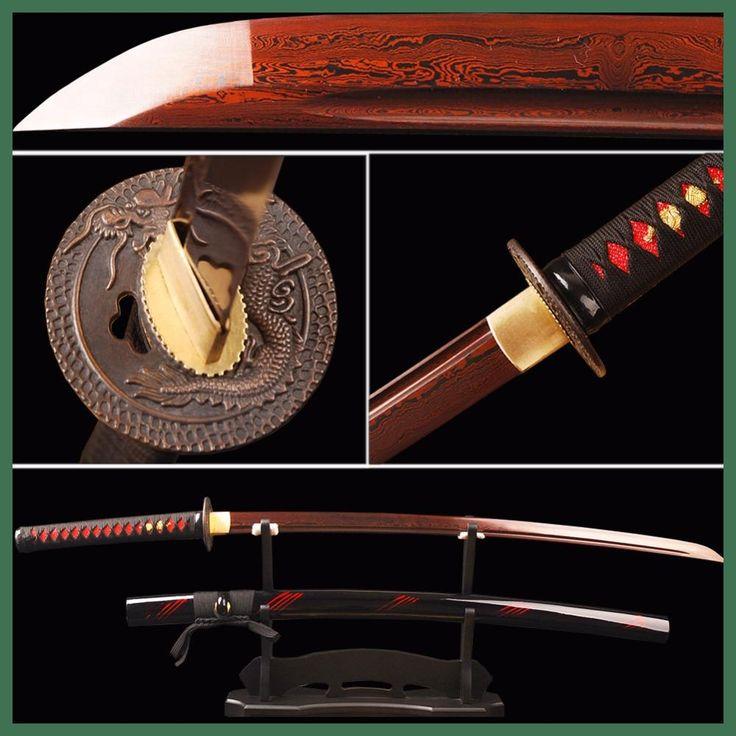 Red Damascus Blade Samurai Sword Japanese Katana Folded Steel Battle Ready Espada Practical Sword Sharp Knife Samurai Cosplay