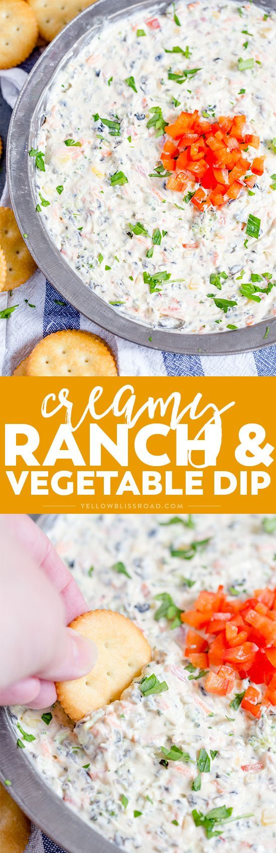 Creamy Ranch and Vegetable Dip is full of your favorite veggies and loaded with Ranch flavor. Great with crackers or chips, it's your new favorite summer snack!