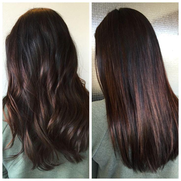 Straight & curly balayaged dark hair - samat hiukset suorana ja kiharrettuna - mustat hiukset ovat saaneet balayage raitoja Olaplexin kanssa. #olaplex #balayage #brunette