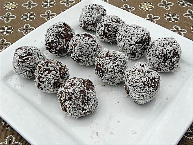 No Bake Chocolate Coconut Balls Sugar-Free, from Sugarfree Mom.  Recipe is here:   http://www.sugarfreemom.com/recipes/no-bake-chocolate-coconut-balls-flour-sugar-egg-dairy-nut-gluten-free/