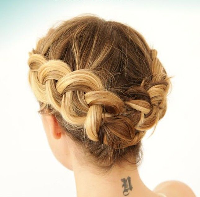 This simple Dutch braid updo is a must-try for short haired girls.