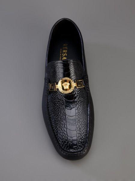 Versace Shoes | Versace Ostrich Car Shoe in Black for Men
