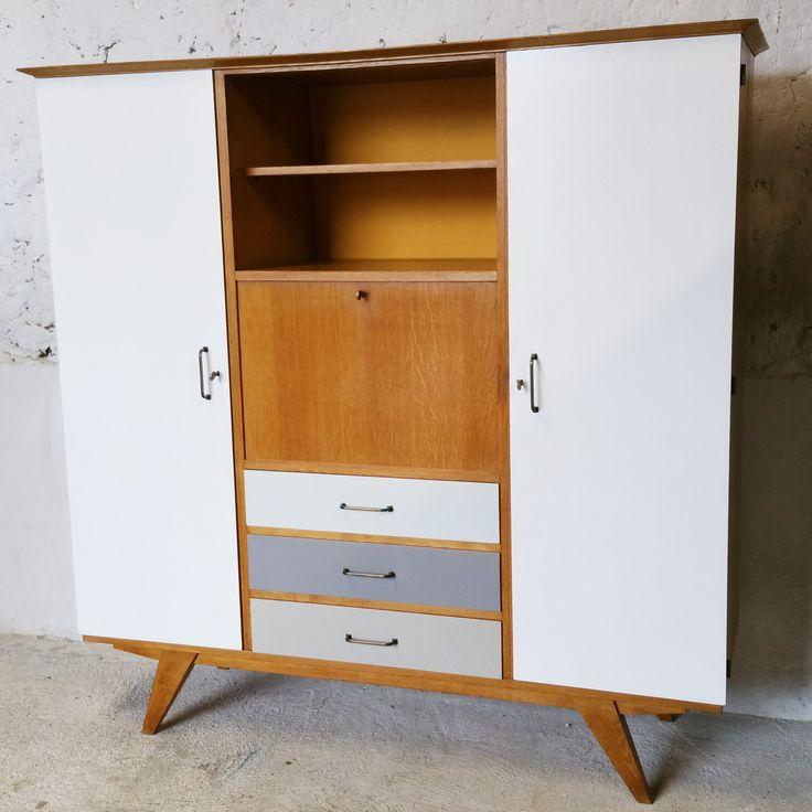 Grande armoire secrétaire multifonctionnelle Vintage / fibresendeco - vannerie artisanale & mobilier vintage