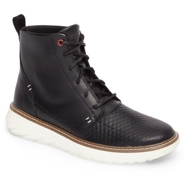 Men's Sperry Element Apron Toe Boot (515 BRL) ❤ liked on Polyvore featuring men's fashion, men's shoes, men's boots, black leather, mens leather shoes, mens black leather shoes, mens black shoes, mens leather boots and sperry mens shoes