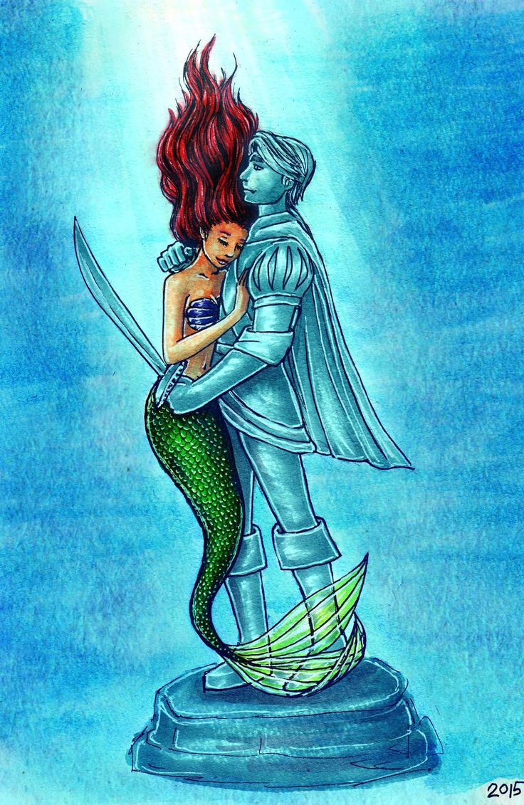 "My Love by AkaAmamura20.deviantart.com on @DeviantArt - Ariel and the statue of Prince Eric from ""The Little Mermaid"""