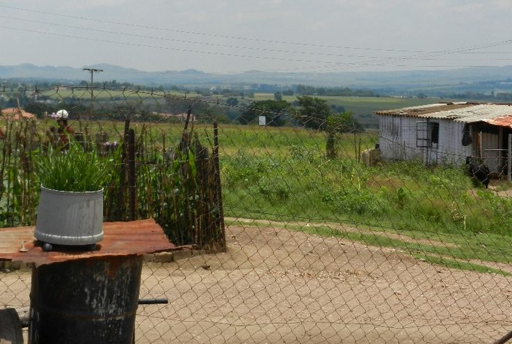 View from Johannesburg settlement: contrast of poverty and beauty