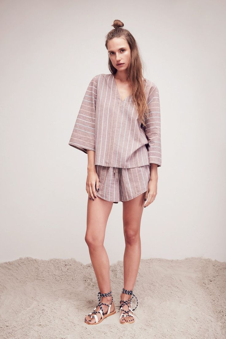 L.W.B. RESORT 16: FLARE SLEEVE TOP and ANGLED STRIPE SHORT.