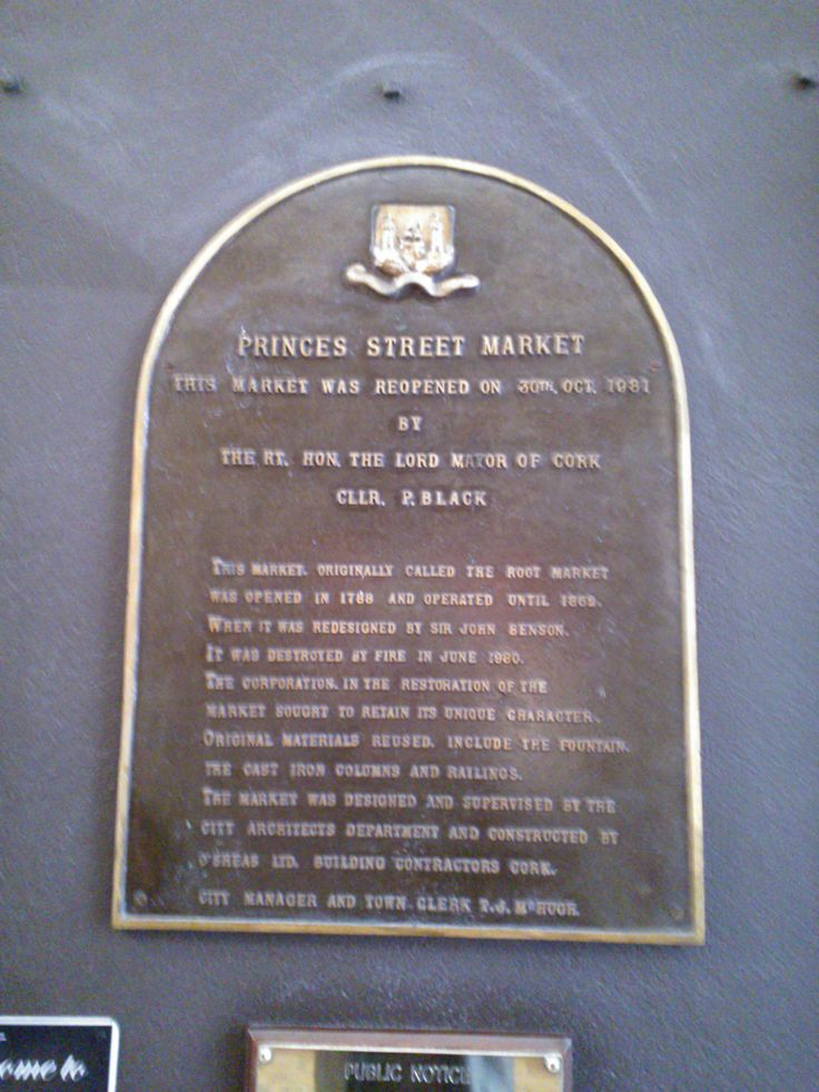 Plaque to commemorate the reopening of Princes Street Market after it was damaged by fire.