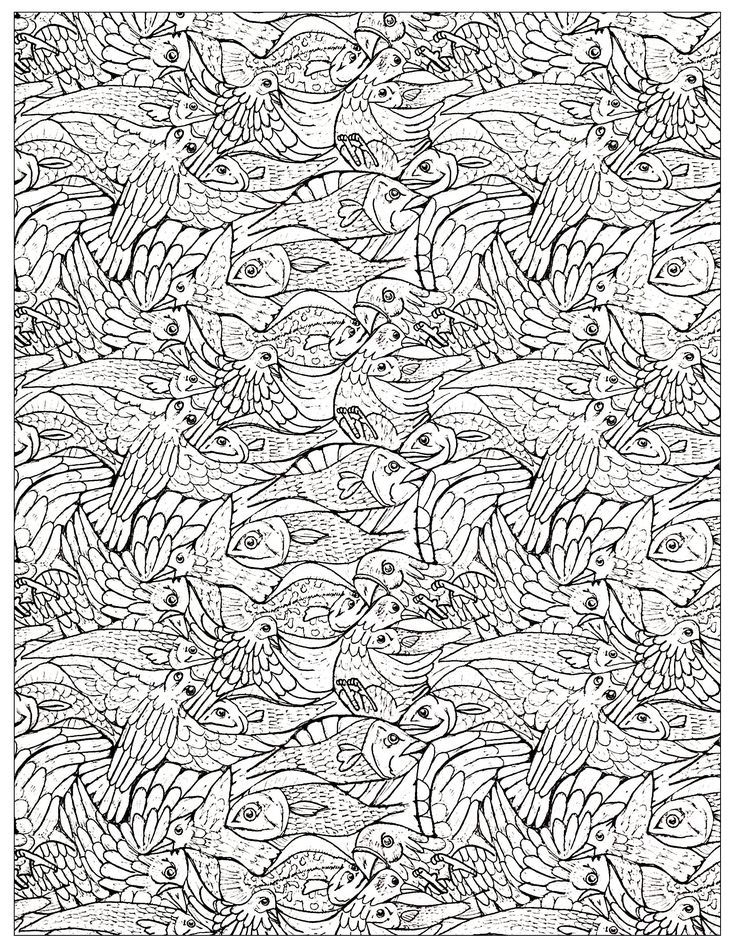 free coloring page plenty of fishes to color