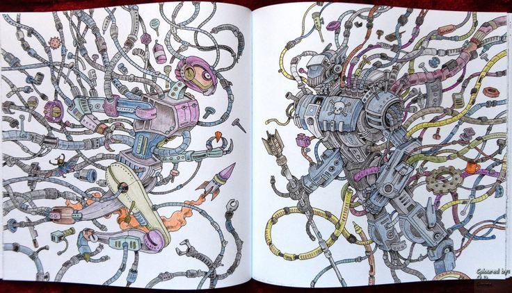 Creamorphia / Imagimorphia - Robotok Készült: Aihao (48) és Astra Metallic ceruzák Imagamorphia - Robots Coloured with Aihao (48) and Astra Metallic pencils