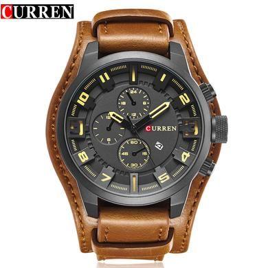 CURREN Men's top marca de luxo relógios de quartzo esportes  pulseira de couro