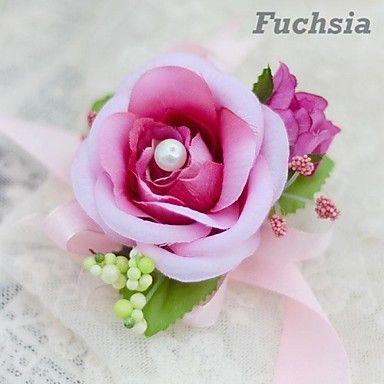 eenvoudige platte roos bruid zijde bruiloft pols corsages (meer kleuren) 2016 – €2.93
