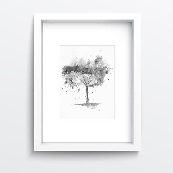 Druckbare Wand Art herunterladbare Bilder Hampel-Struktur drucken weiss und schwarz drucken Baum Aquarell Aquarell