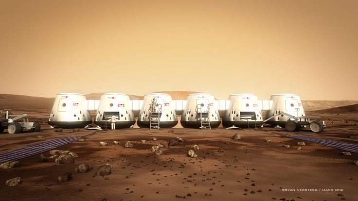 This image is an artist's depiction of Mars One astronauts and their habitat on the Red Planet. Mars One is a not-for-profit organization that will establish a human settlement on Mars through the integration of existing, readily available technologies from the private space industry.