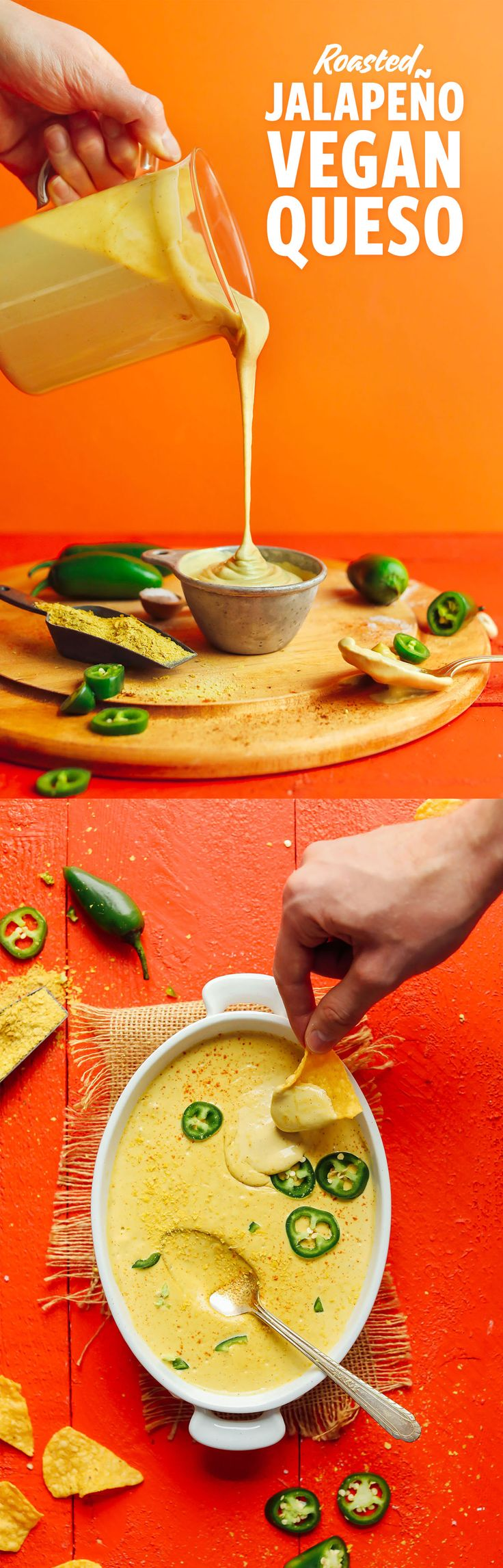 Creamy Roasted Jalapeno Vegan Queso. #vegan #glutenfree #soyfree