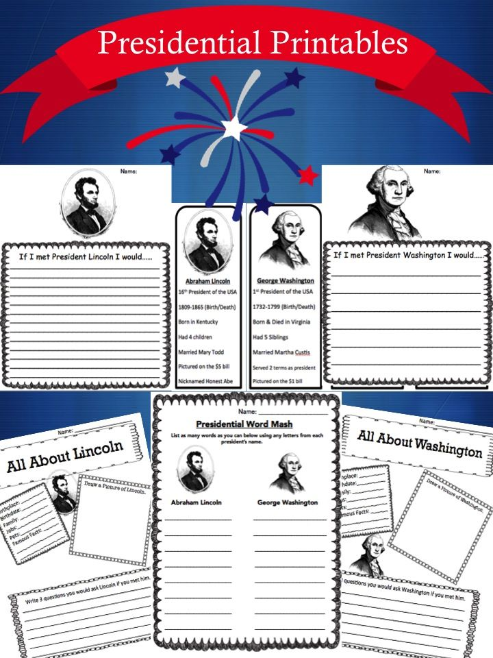 We found this fantastic FREE President's Day Printable Pack over at Surviving a Teacher's Salary complete with presidential bookmarks, coloring sh