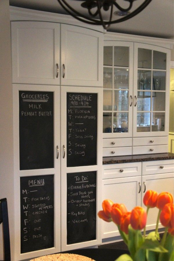 Awesome White Kitchen Pantry Cabinet with Chalkboard