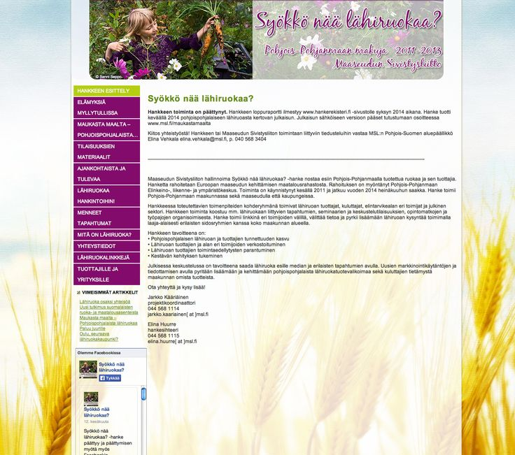 """Maaseudun Sivistysliiton Lähiruokahankkeen """"Syökkö nää lähiruokaa"""" nettisivujen graafinen suunnittelu. #webdesign #lahiruoka #nettisivut #kotisivut #maaseutu"""