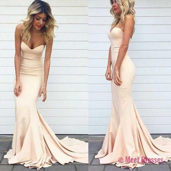 Charming Prom Dressmermaid Prom Dresslong Prom Dresseslight Blush