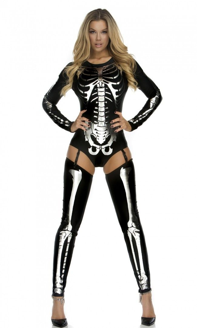 Rock them Bones! Foreplay Costumes' Snazzy Skeleton Bodysuit includes sexy bodysuit with thigh-highs that has a metallic skeleton screen print.