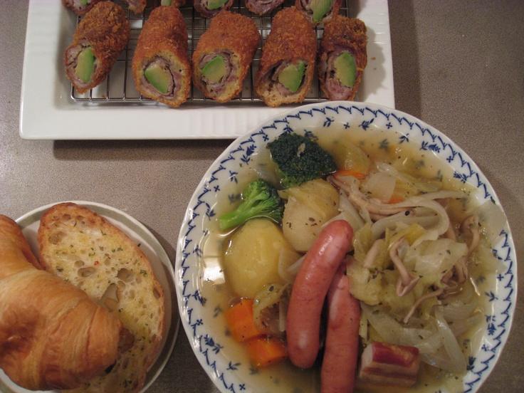 2012/02/12夕食  ポトフ・アボガドの豚肉巻フライ・croissant&garlic-toast