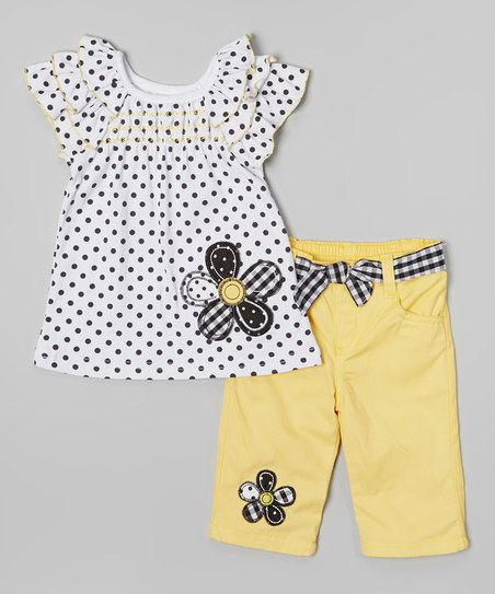 Young Hearts White Polka Dot Top & Yellow Shorts - Infant & Toddler | zulily