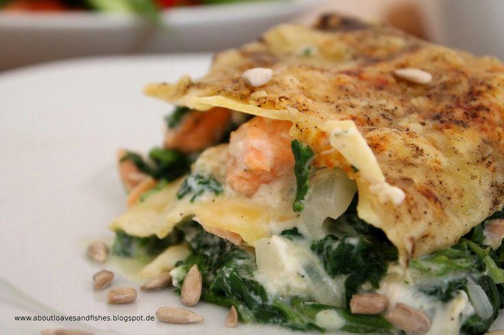 Lasagne mit Lachs und Spinat  www.aboutloavesandfishes.blogspot.de / schnelles Mittagessen / Lasagne mal anders