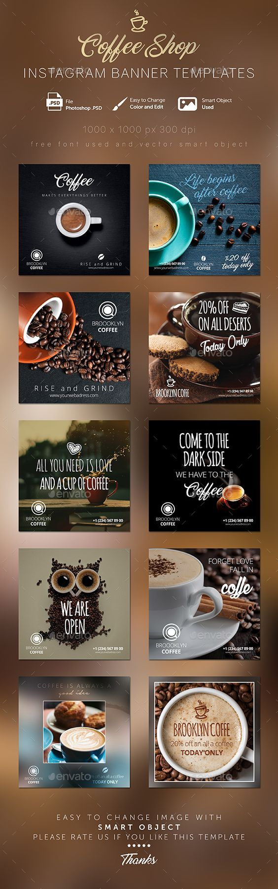 Coffee Shop Instagram Banner Templates - Social Media Web Template PSD. Download here: http://graphicriver.net/item/coffee-shop-instagram-banner-templates/16575215?ref=yinkira:
