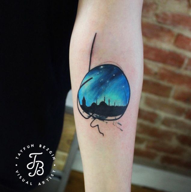 Skyline of Istanbul Tattoo by Tayfun Bezgin - TATTOOBLEND