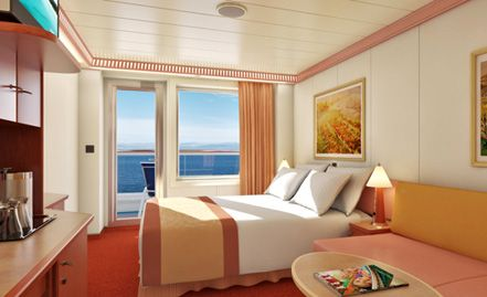 This is what our room will look like, ... sooooooo ready to go. Only 47 days!! (Carnival Conquest Balcony Stateroom.)
