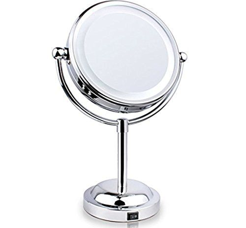 FLYMEI DoubleSided LED Lighted Makeup Mirror Vanity Mirrors with 3x Magnification Polished Chrome Finish 6inch *** Check this awesome product by going to the link at the image.