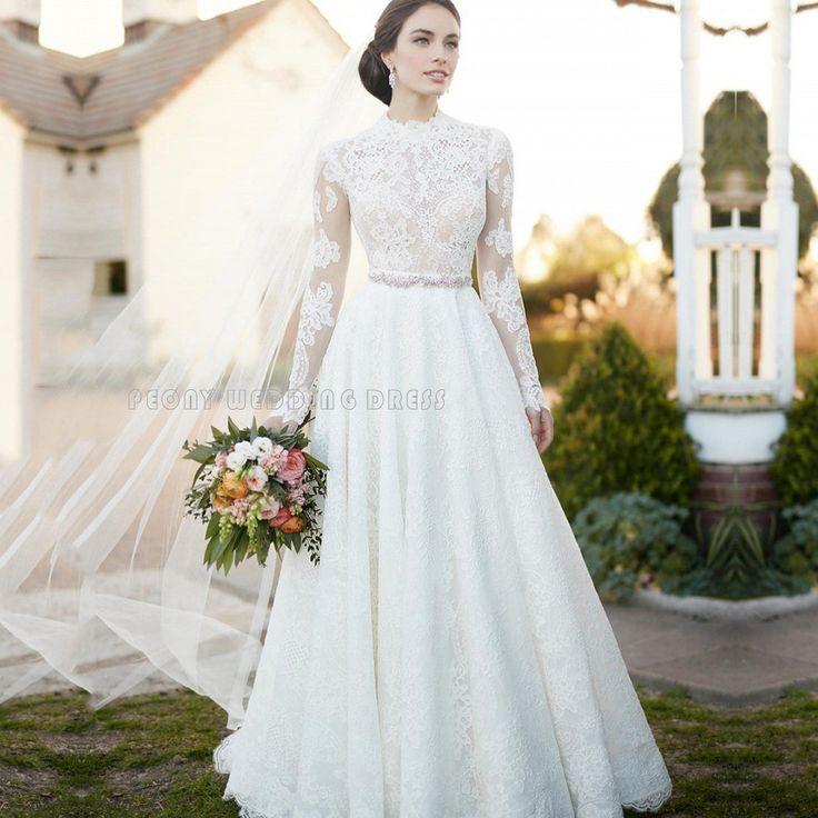Find a Beautiful Ivory Lace Wedding Dresses High Neck A Line Wedding Dress Beaded Women Wedding Gowns Long Cheap Bridal Dresses Online Shop For U !