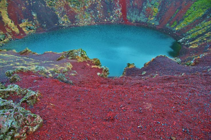Kerid is a 55m deep caldera of a volcano that erupted approximately 3000 years ago and is now filled with water.