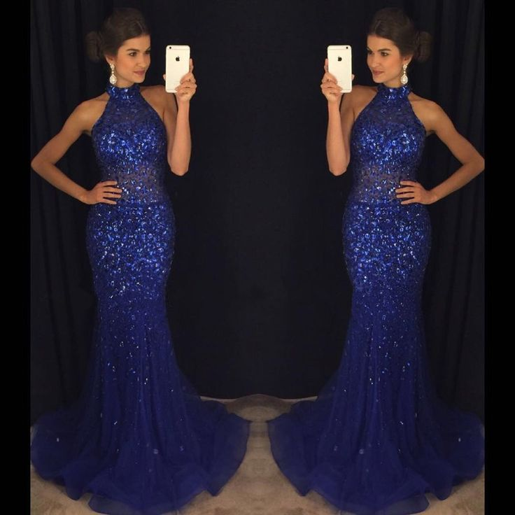 Mermaid Navy Blue High Neck Rhinestone Sequin Prom Dresses The dress is fully lined, 4 bones in the bodice, chest pad in the bust, lace up back or zipper back are all available, total 126 colors are a